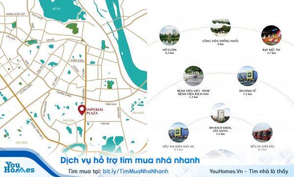 """Chung cư Imperial Plaza 360 sở hữu vị trí """"đất vàng"""" mặt đường Giải Phóng."""