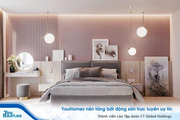 Thiết kế phòng khách với tone hồng ấn tượng