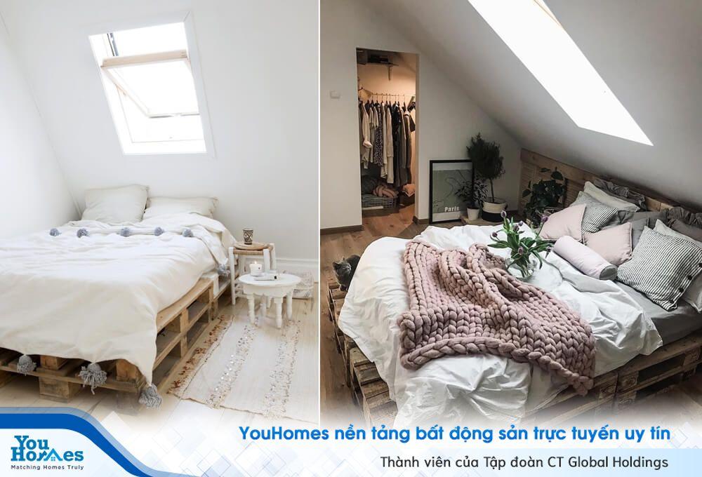 Ý tưởng độc đáo trang trí phòng ngủ gác mái