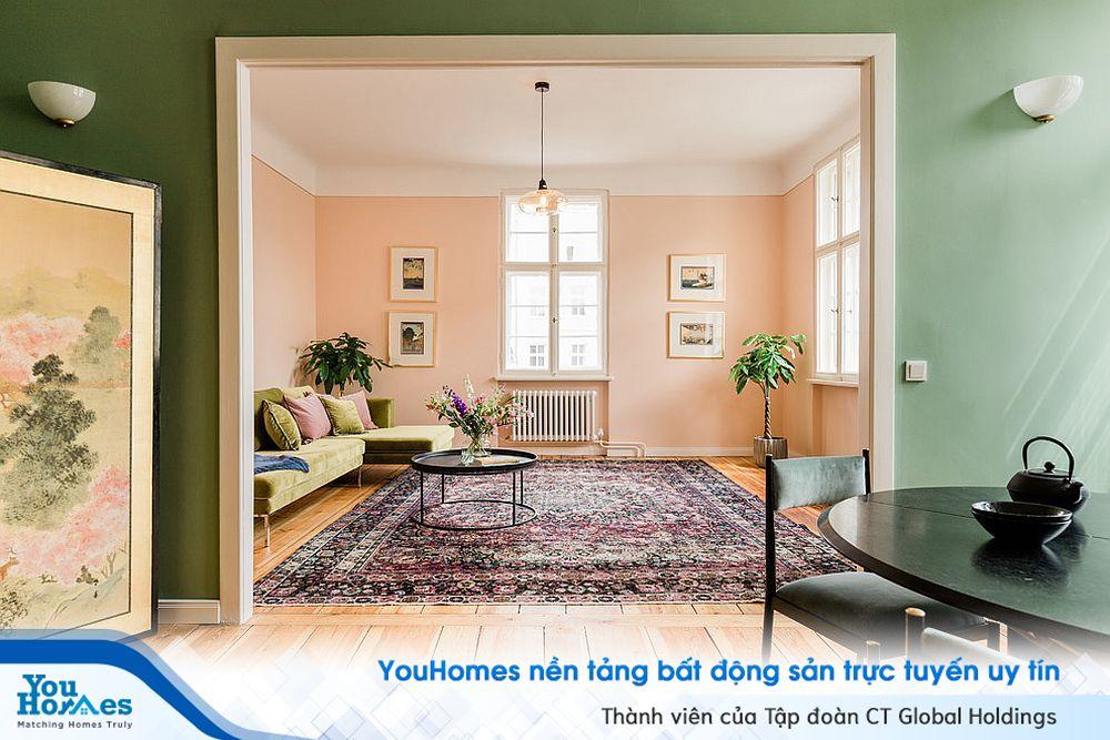 Màu hồng mộng mơ cho phòng khách hiện đại