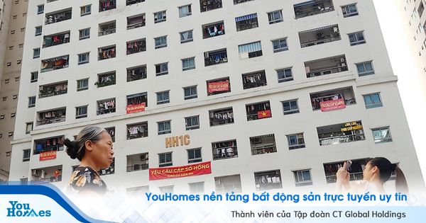 Chung cư HH Linh Đàm: Người dân đồng loạt căn băng rôn đòi sổ hồng