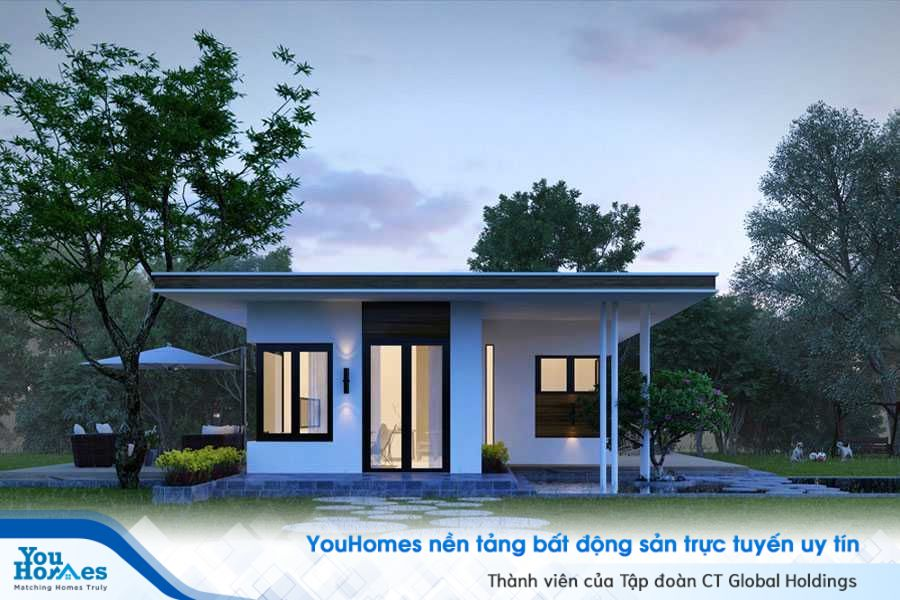 Ngôi nhà kiểu Nhật nhỏ gọn với phần đá ốp lỗi đi vào nhà xinh xắn và sáng tạo.