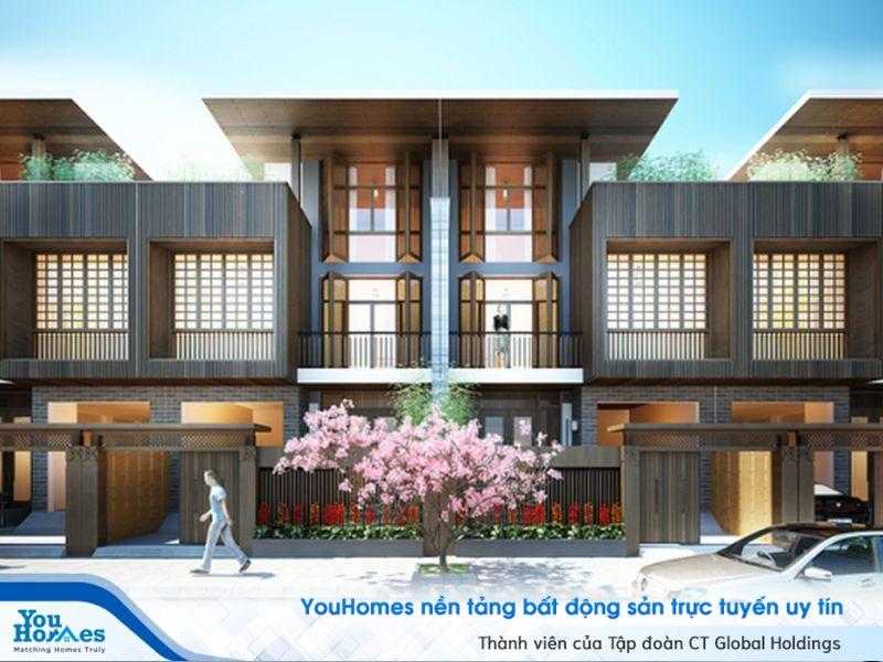 Biệt thự song lập kiểu Nhật với cây anh đào bên ngoài.