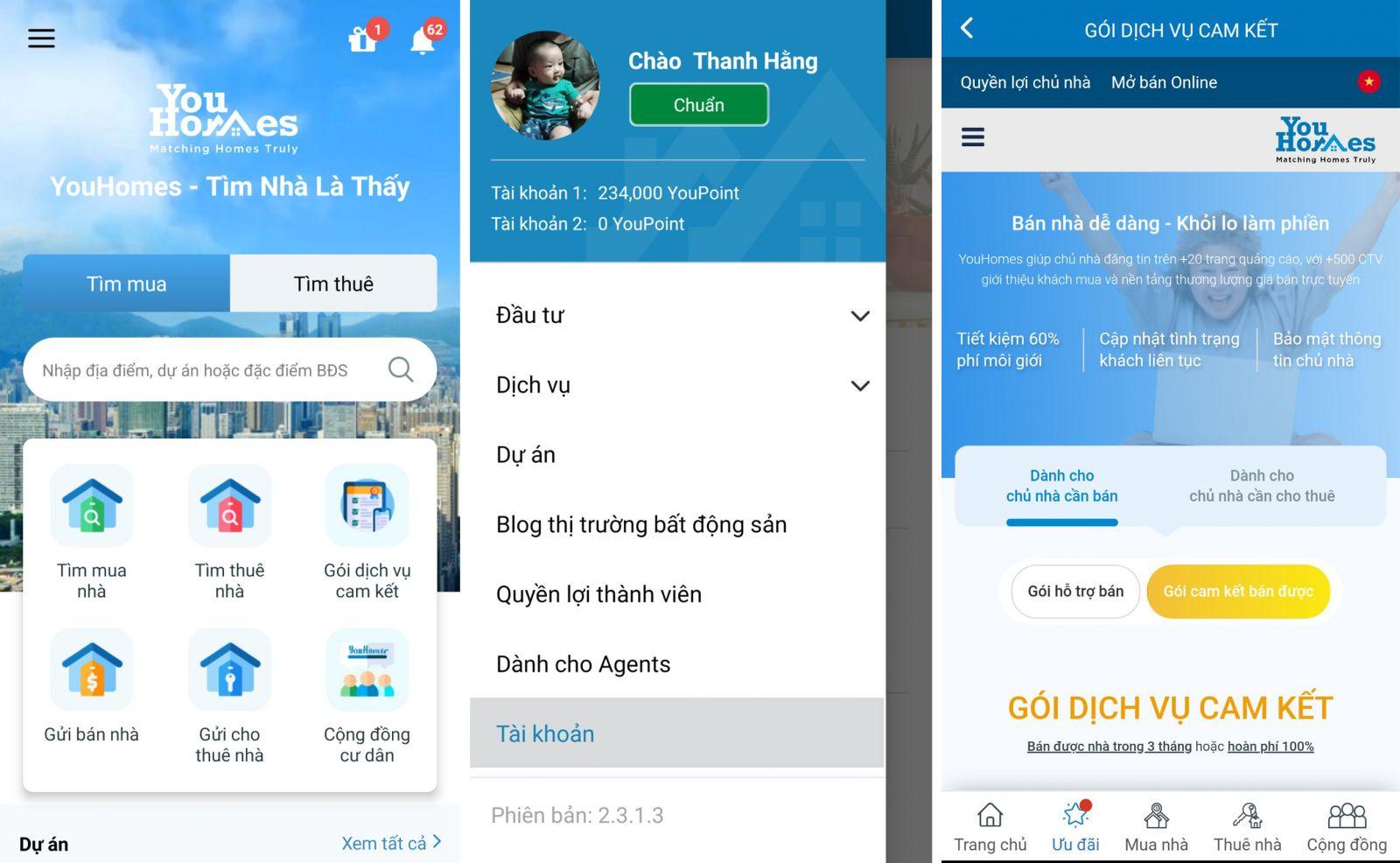 Diện mạo mới của ứng dụng công nghệ BĐS YouHomes.