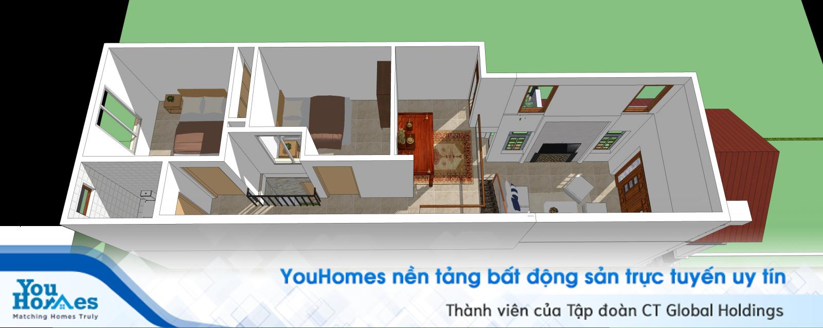 Gác lửng giúp nhà ống 1 tầng 3 phòng ngủ trở nên tối ưu và tiện lợi khi sinh hoạt.