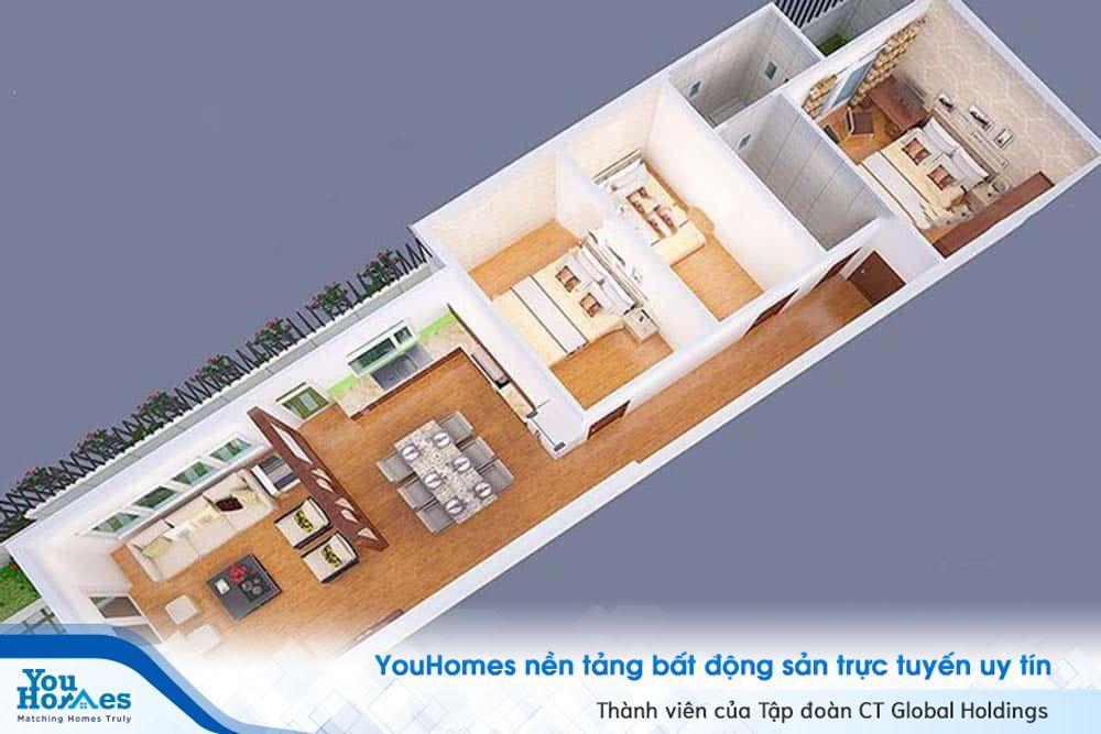 Nhà ống 1 tầng 3 phòng ngủ với chiều sâu lớn có thể tham khảo thiết kế này sẽ cực kỳ hợp lý.