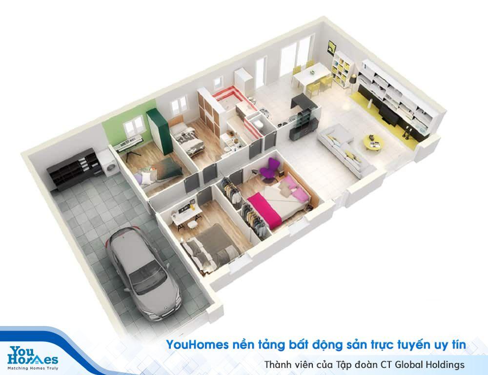 Ngôi nhà ống 1 tầng có thiết kế siêu hợp lý cùng 4 phòng ngủ và gara ô tô cực kỳ tiện lợi.