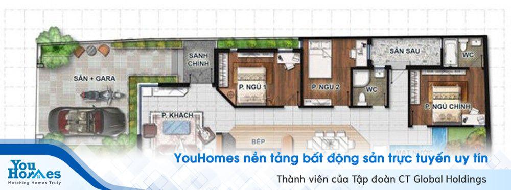 Nhà ống 1 tầng 3 phòng ngủ sâu với sân vườn được kết hợp cùng gara ô tô.