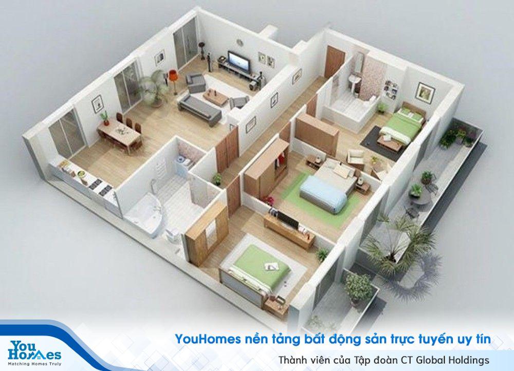 Ngôi nhà được thiết kế phần không gian sinh hoạt chung và phần khu vực phòng ngủ riêng biệt với 2 phần tách biệt.