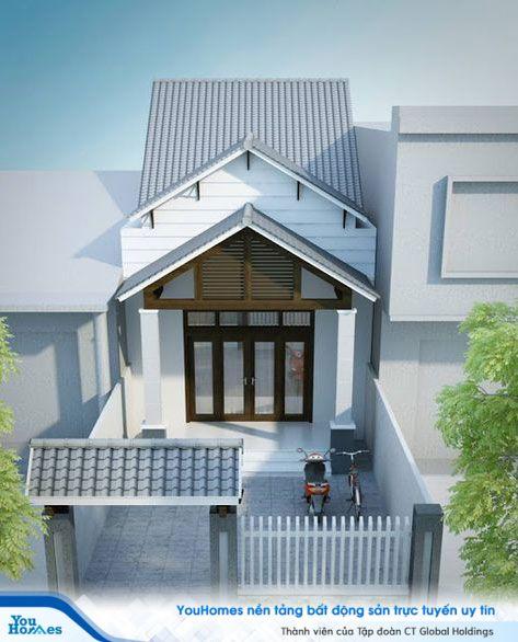 Nhà ống 1 tầng mái thái với thiết kế mang đậm màu sắc truyền thống.