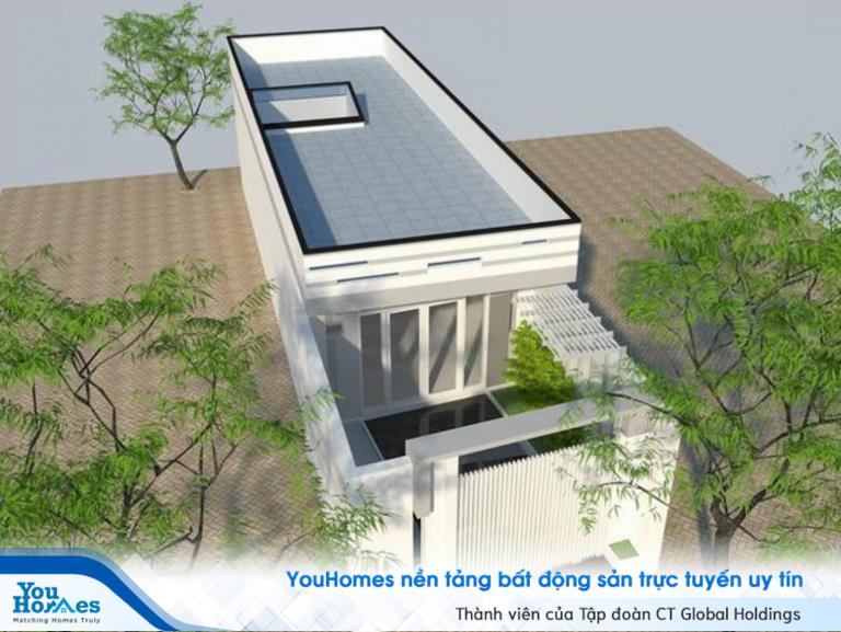 Nhà ống dài nhỏ nhắn tận dụng phần mái nhà làm sân thượng.