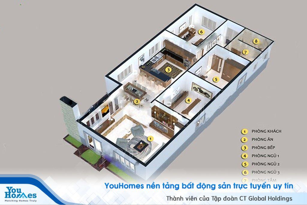 Nhà ống 1 tầng 3 phòng ngủ mang phong cách hiện đại.