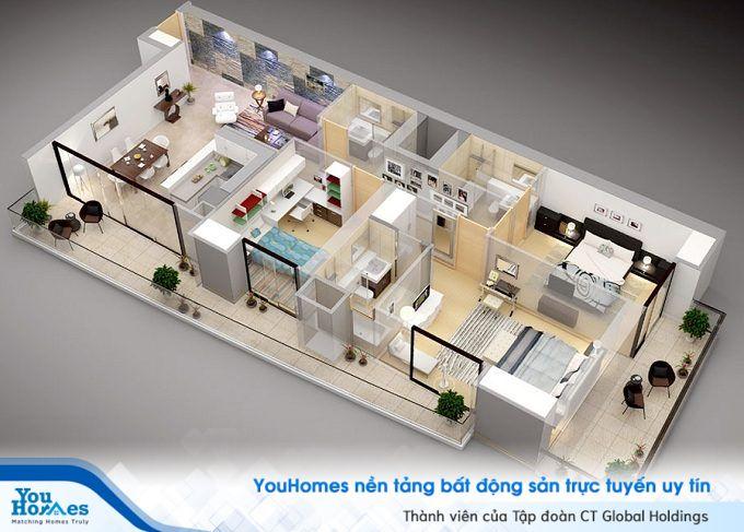 Nhà ống 1 tầng 3 phòng ngủ hiện đại với thiết kế bằng kính tận dụng tối đa ánh sáng tự nhiên.