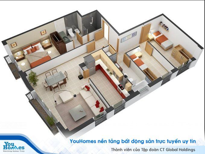 Nhà ống 1 tầng 3 phòng ngủ khắc phục được điểm yếu khuyết góc nhà thiết kế hợp lý.
