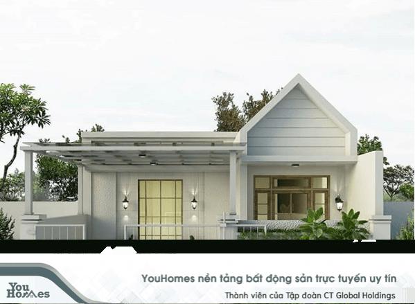 Mẫu nhà cấp 4 - 2 phòng ngủ phong cách hiện đại, tinh tế với gam màu trắng.