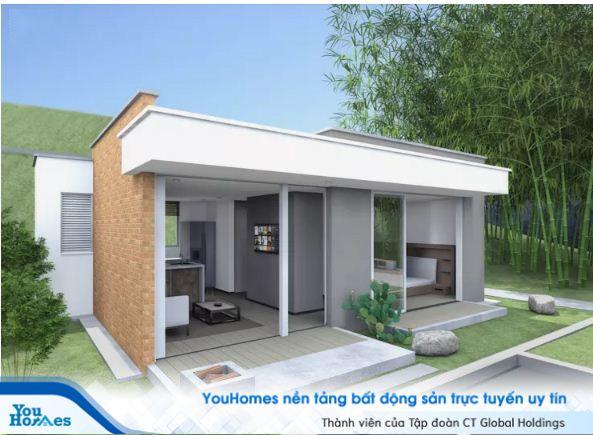 Mẫu nhà cấp 4 - 2 phòng ngủ mái bằng mang phong cách tối giản.