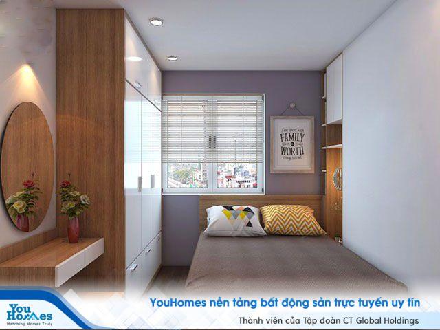 Mẫu phòng ngủ hẹp có đầy đủ tủ trang trí, tủ quần áo và bàn trang điểm mà vẫn thông thoáng đến không ngờ.
