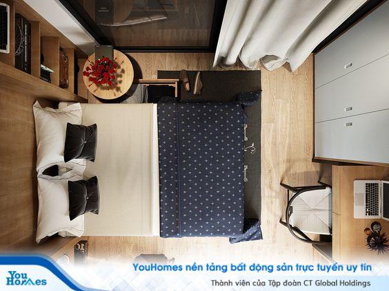 Cách bố trí siêu hợp lý tận dụng mọi cm trong căn phòng giúp phòng ngủ vừa đẹp gọn gàng lại đáp ứng hoàn hảo công năng sử dụng.