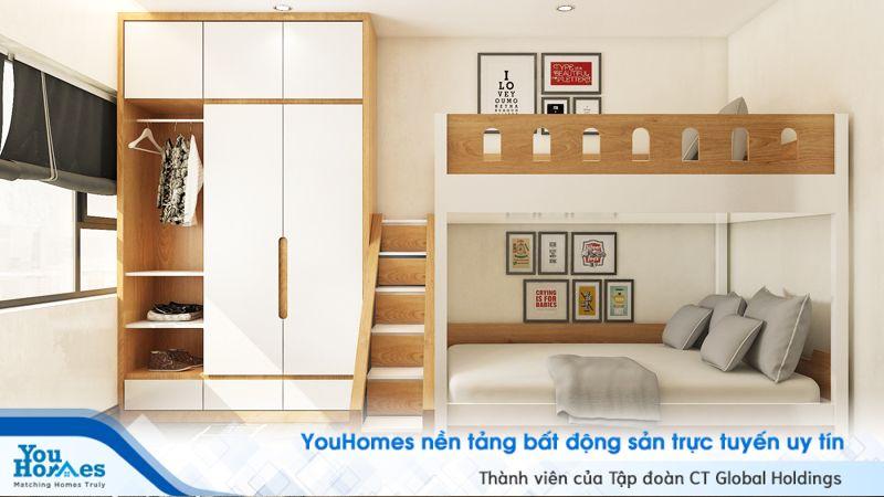 Giường tầng là sự lựa chọn khá lý tưởng để phòng ngủ hẹp 10m2 có thể sử dụng được cho 2 người.
