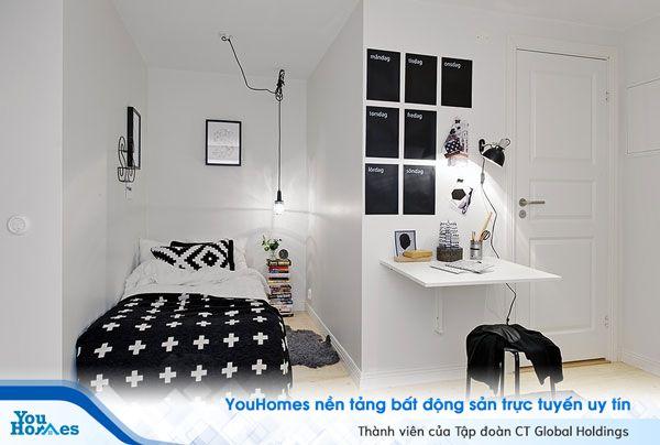 Đối với những phòng ngủ hẹp hình chữ L nên có sự cân nhắc trong bố trí và thiết kế.