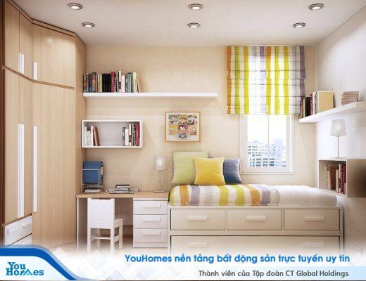 Phỏng ngủ nhỏ hẹp với màu sắc tươi sáng cùng tủ để đồ âm tường và giường kết hợp ngăn kéo để đồ thông minh.