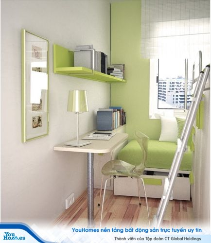 Tận dụng tối ưu hóa không gian giúp phòng ngủ nhỏ hẹ 10m2 vẫn có đủ diện tích cho nơi làm việc, đọc sách.