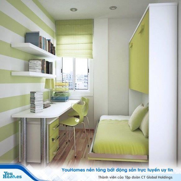 Chỉ trong 10m2, phòng ngủ tích hợp phòng làm việc với giường có thể đóng mở tùy ý.