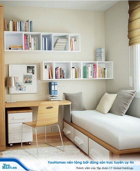 Nhưng chiếc ngăn kéo xinh xắn được tích hợp với giường tạo nên không gian lý tưởng cho phòng ngủ nhỏ hẹp.