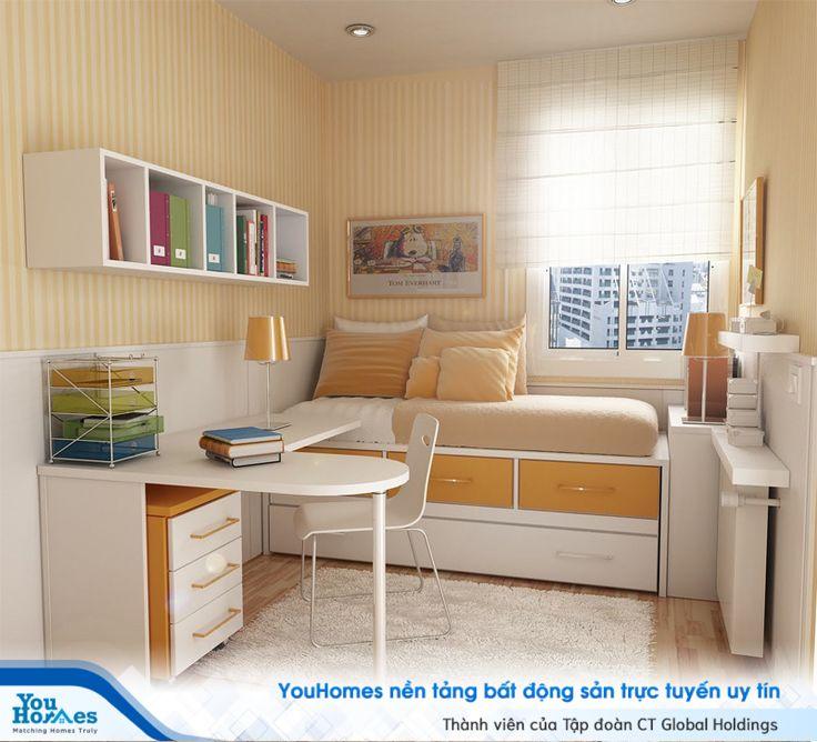 Phòng ngủ hẹp 10m2 với gam màu ấm áp.