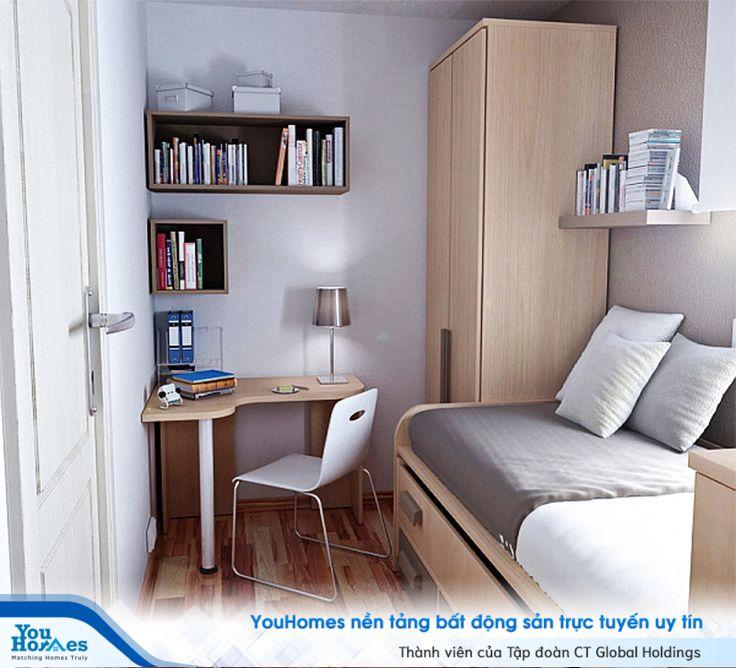 Phòng ngủ hẹp 10m2 được tận dụng mọi ngóc ngách giúp căn phòng trở nên cực kỳ hợp lý.
