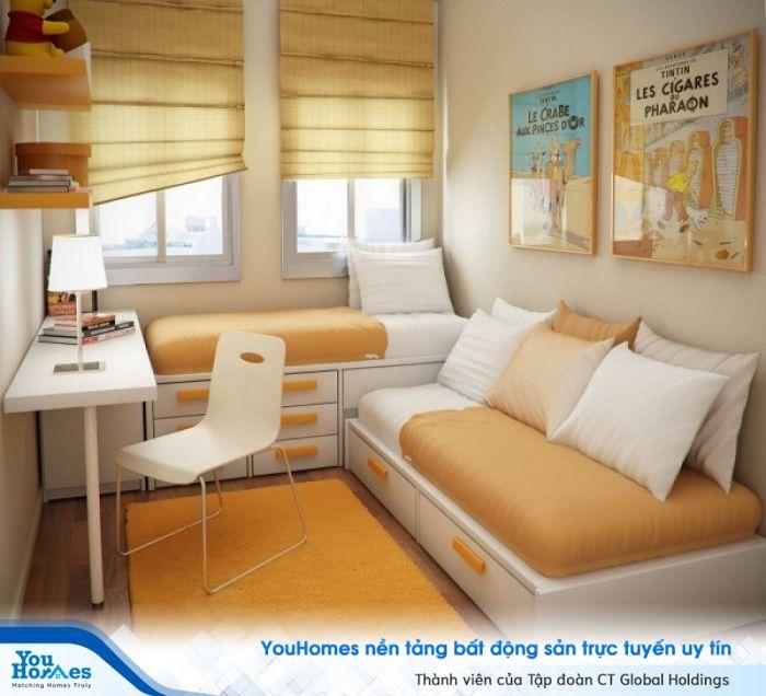 Phòng ngủ hẹp kết hợp phòng làm việc , phòng đọc sách siêu lý tưởng.