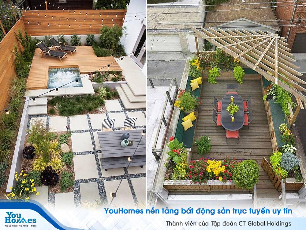 Bố trí bể bơi ngoài trời là một ý tưởng thiết kế sân thượng cực kỳ hợp lý cho nhà phố hiện đại.