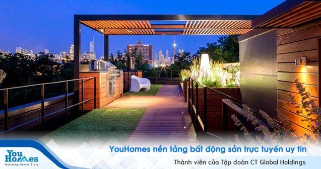 Khu nướng BBQ lý tưởng cho cả gia đình nằm trên sân thượng với view thành phố tuyệt đẹp.