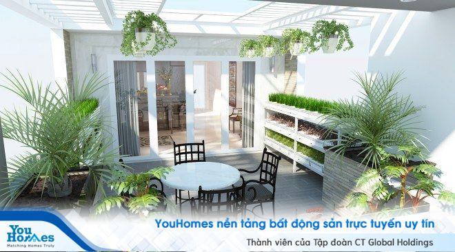 Sân thượng đẹp cho nhà phố hiện đại với gam màu trắng tinh tế.