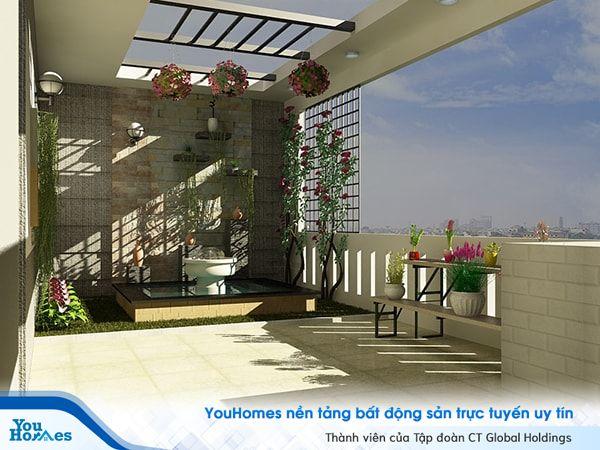 Bố trí thêm tiểu cảnh giúp cho sân thượng nhà phố hiện đại trở nên đẹp tự nhiên.