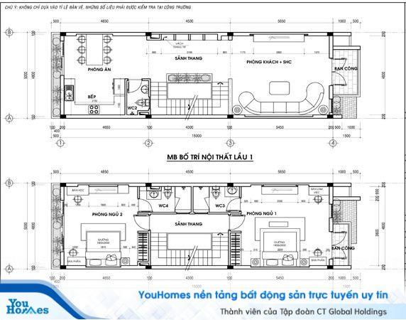 Bản thiết kế bố trí nội thất cho nhà 2 tầng hiện đại - Số 1