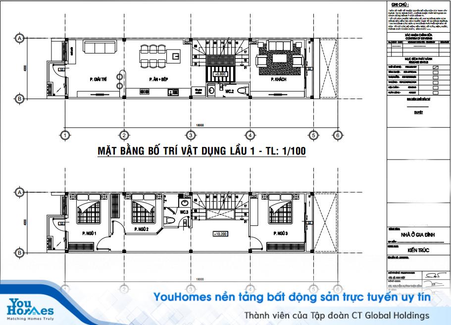 Bản thiết kế bố trí nội thất cho nhà 2 tầng hiện đại - Số 2