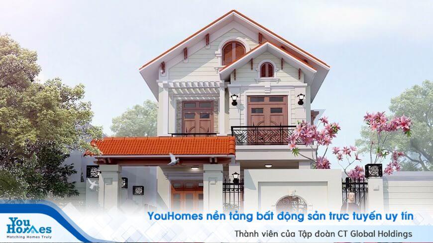 Mẫu nhà 2 tầng pha trộn phong cách cổ điển và hiện đại cực kỳ tinh tế.