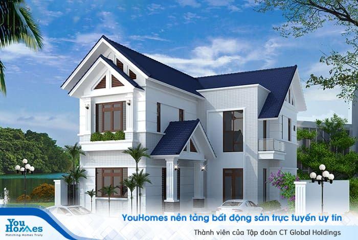 Mẫu nhà 2 tầng hiện đại chữ L lý tưởng cho mọi gia đình.