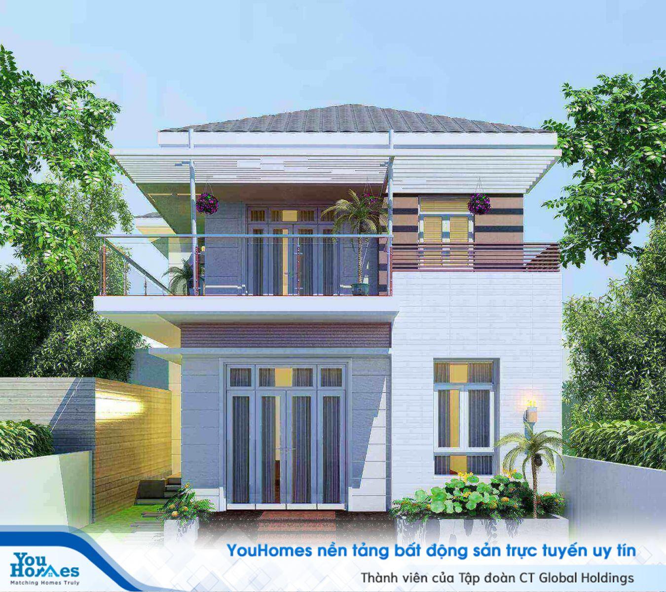 Mẫu nhà 2 tầng hiện đại với thiết kế dàn cây leo tạo nên sức sống cho tổng thể.