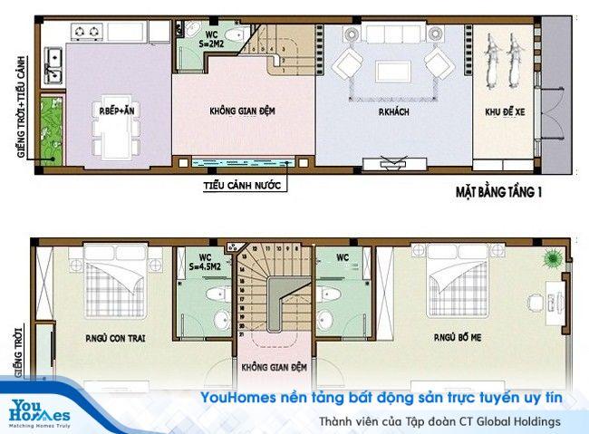 Bản thiết kế bố trí nội thất cho nhà 2 tầng hiện đại - Số 3