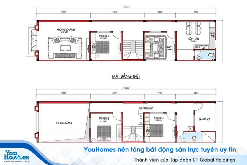 Bản thiết kế bố trí nội thất cho nhà 2 tầng hiện đại - Số 4