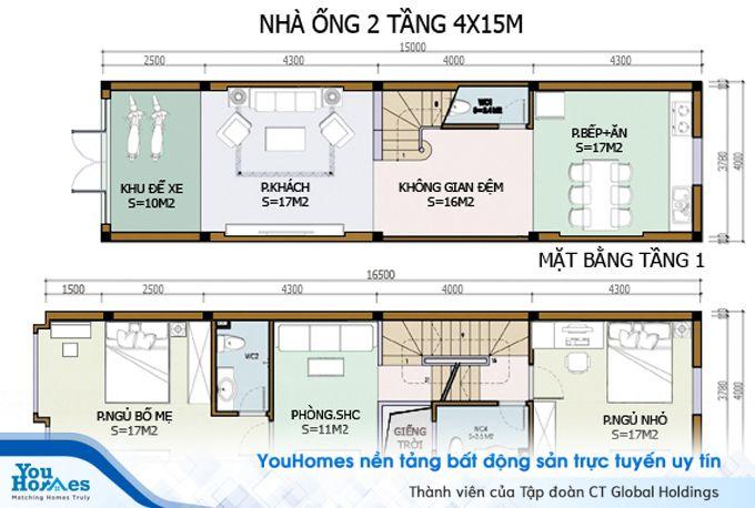 Bản thiết kế bố trí nội thất cho nhà 2 tầng hiện đại - Số 5