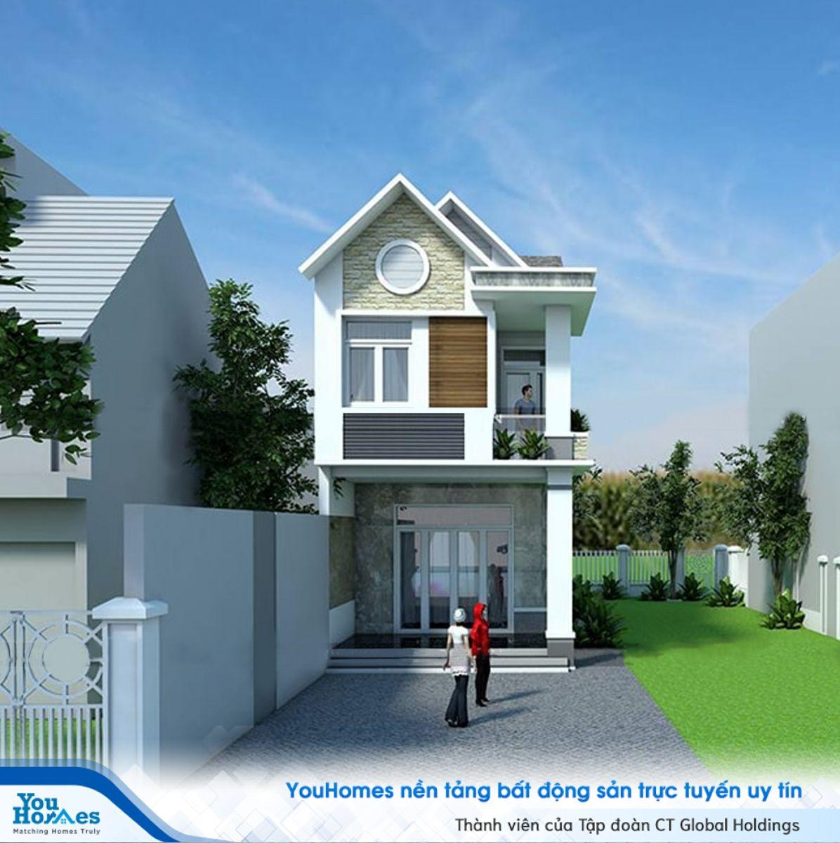 Phần ban công nhỏ xinh tạo nên điểm nhấn thú vị cho nhà 2 tầng hiện đại với giá dưới 700 triệu.