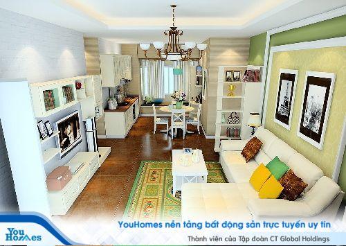 Thiết kế phòng khách liền bếp hiện đại pha trộn cổ điển giúp ngôi nhà mang màu sắc riêng không thể nhầm lẫn
