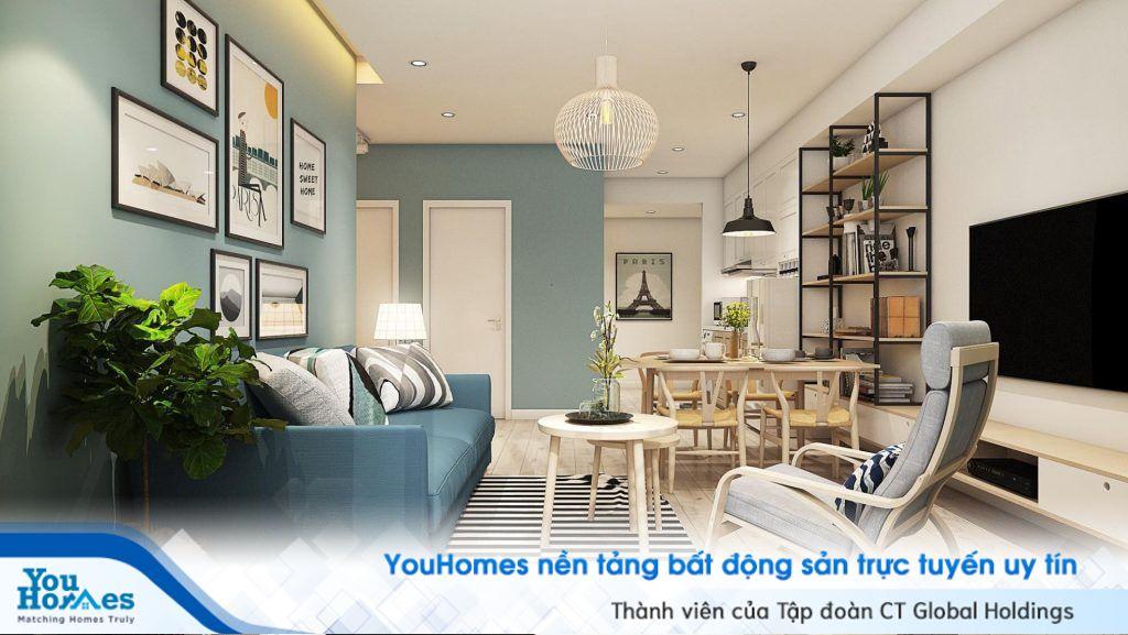 Màu xanh pastel là xu hướng màu sắc được ưa chuộng cho mùa hè, nhất là đối với phòng khách liền bếp.