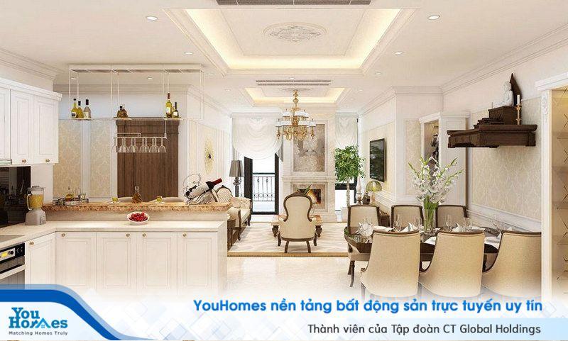 Pha trộn với phong cách cổ điển Châu Âu cũng là một ý tưởng không tồi cho phòng khách liền bếp.