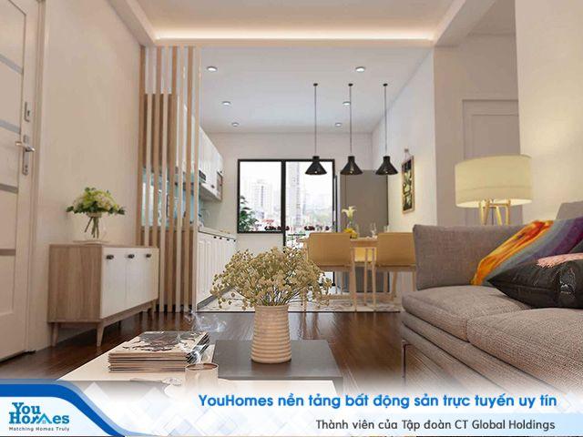 Bố trí phòng khách nằm bên trọng cạnh ban công giúp việc nấu nướng trở nên dễ dàng hơn đối với không gian phòng khách liền bếp.