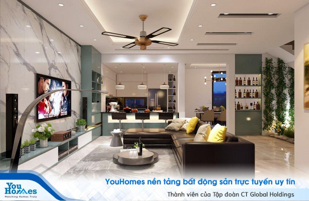 Các không gian phòng khách liền bếp thương được tạo quầy bar trở thành nơi kết nối cho cả hai không gian.