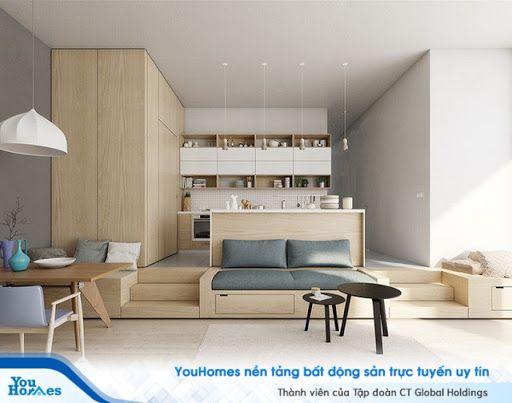 Nội thất thông minh giúp tối ưu diện tích cho mẫu phòng khách liền bếp.